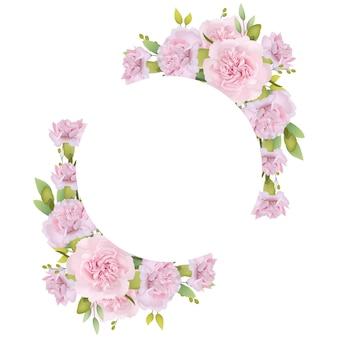 ピンクのカーネーションと花のフレームの背景