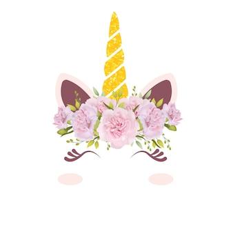 かわいい花柄ユニコーン