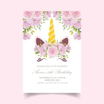 Цветочное приглашение на день рождения с милым единорогом