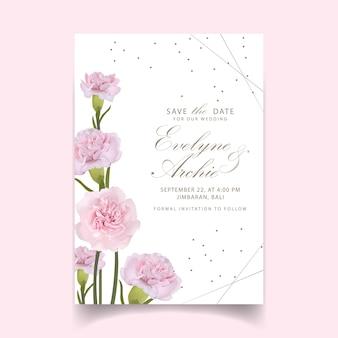 Свадебные приглашения цветочные розовые гвоздики