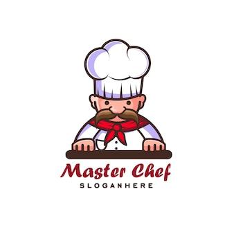 Старый шеф-повар с галстуком и усами логотипа. иллюстрация мультфильм стиль малыша полный цвет.