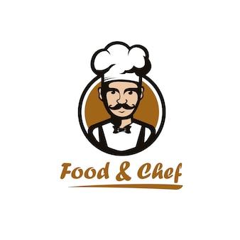 Иллюстрация шеф-повар счастливы / улыбка с бабочкой на круг дизайн логотипа современный стиль мультфильма для ресторана / еда и напитки