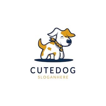 Иллюстрация милой собаки с контуром и галстуком дизайн логотипа современный стиль