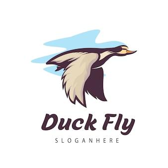 Летающая утка миграции дизайн логотипа вдохновения мультяшном стиле