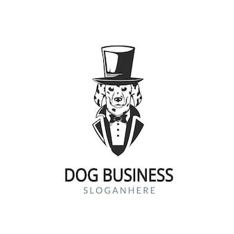 Иллюстрация дворянской собаки дворянина с костюмом и галстуками дизайн логотипа винтажный стиль