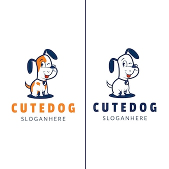 Иллюстрация милые собаки с контуром логотипа дизайн современный мультяшный стиль
