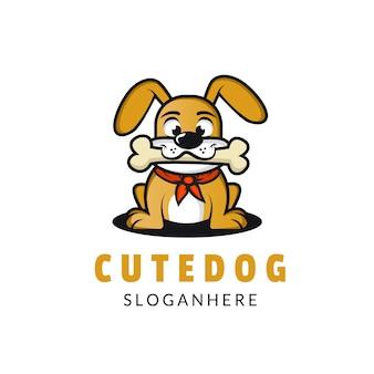 Иллюстрация счастливых собак кусать кости дизайн логотипа полный цвет мультяшном стиле