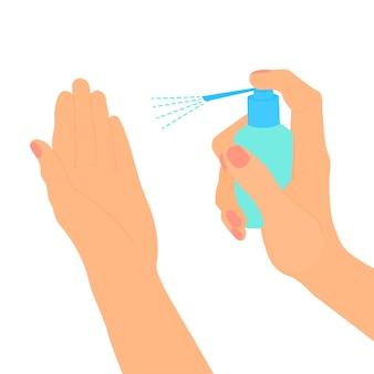 消毒スプレーで手。抗菌保護。衛生用品