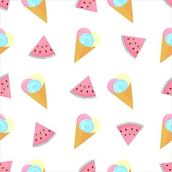 Шарики мороженого в вафельном конусе и кусочки арбуза летом бесшовные модели.