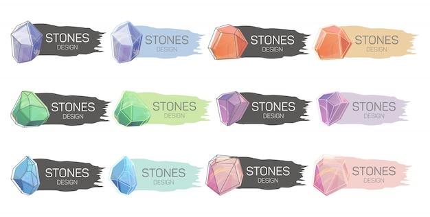 Набор красочных вытянутых флагов с кристаллами.