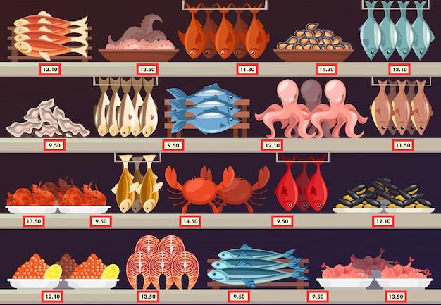 Рыбная еда в магазине или магазине с ценами