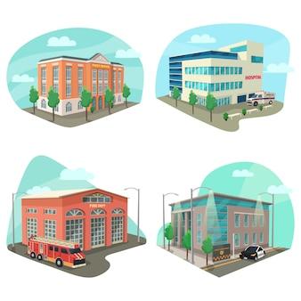 サービス部門または建物のセット