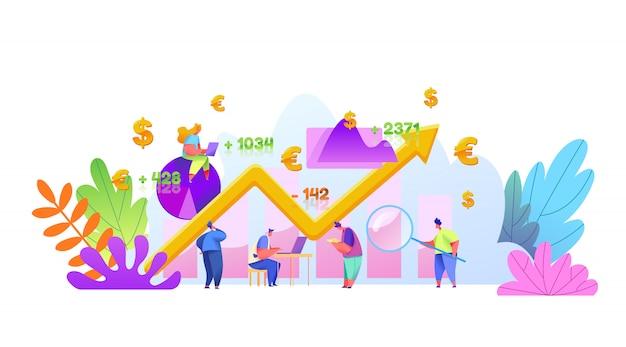 Виртуальный финансовый ассистент, онлайн торговая концепция с мужской, женской аналитикой с ноутбуком финансовых исследований. концепция управления активами, инвестиций, денег и прибыли с графиком роста рынка.