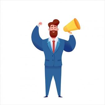 手でメガホンとスーツを着て立っている自信を持ってハンサムな実業家。