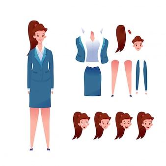 ビジネス女性アニメーションセット。スーツの様々な顔の感情の少女。女性マネージャー作成キット。サラリーマン。