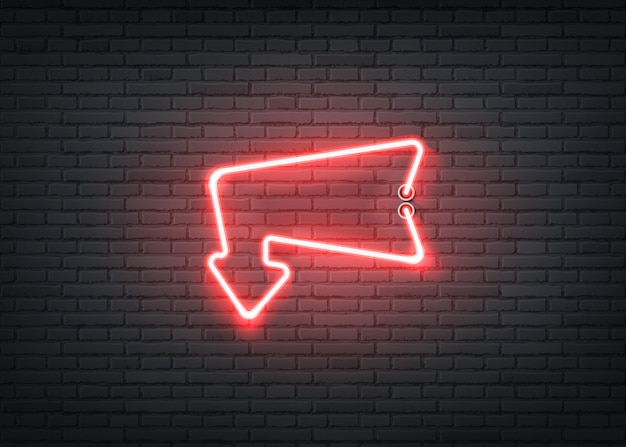 バーのナイトクラブのネオン入り口の赤い矢印