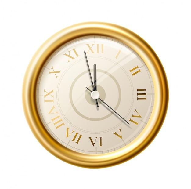 現実的な黄金の壁時計ギリシャ数字
