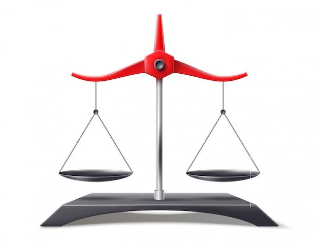 Реалистичные весы правосудия, символ баланса