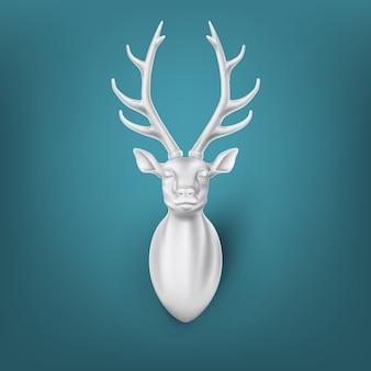 Реалистичный рендер олень с иллюстрацией скульптуры рога