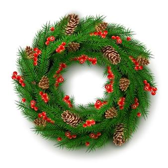 Реалистичный рождественский венок с ягодами, листьями шишек