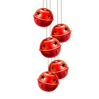 赤の現実的なジングルベルのおもちゃを渡す