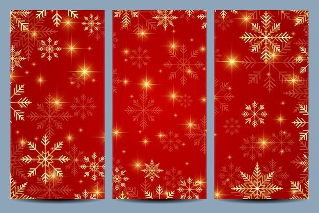 幸せな新年カードのセットです。黄金の雪と赤い背景。
