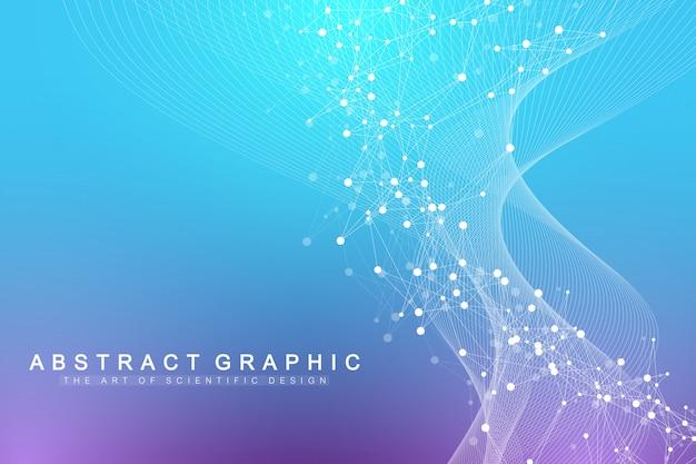 Научная иллюстрация генная инженерия и концепция генной манипуляции. спираль днк, цепь днк, молекула или атом, нейроны. волновое течение