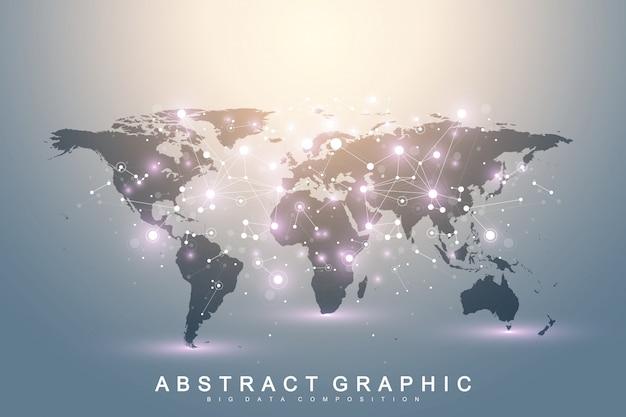 世界地図との幾何学的なグラフィック背景コミュニケーション。化合物を含むビッグデータ複合体。遠近法の背景。最小配列。デジタルデータの視覚化。科学的なサイバネティックイラスト。