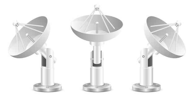 白い背景で隔離衛星放送受信アンテナ設計図
