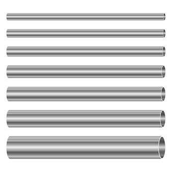 Стальные трубы набор дизайн иллюстрация на белом фоне