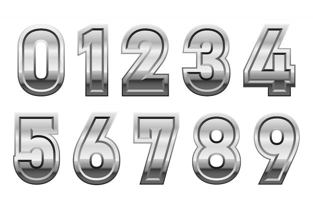 白い背景に分離された金属の数字デザインイラスト