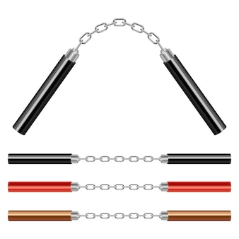 Иллюстрация нунчаку на белом фоне