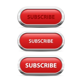 Красная кнопка подписки иллюстрации на белом фоне