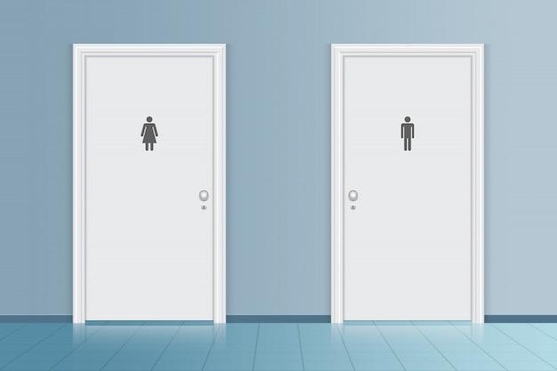 バスルームのトイレのドアのイラスト