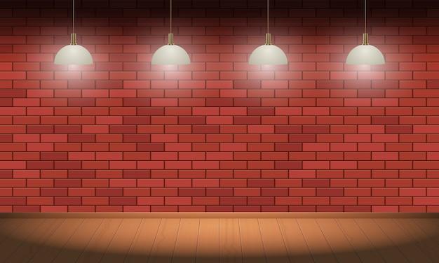 レンガの壁と木製の床の背景ベクトルデザインイラスト