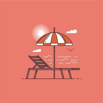 フラットなデザインで日没までに傘とビーチチェアのある夏の海の風景。