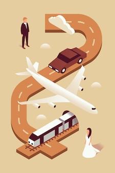 結婚式、等角投影図、セット、茶色の背景、招待状:男、車、飛行機、電車、女性、道路、雲