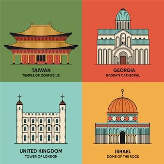 Путешествия пейзажи с различными достопримечательностями сцены. тайвань - храм конфуция, грузия - собор баграти, великобритания - лондонский тауэр, израиль - купол скалы