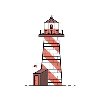 Маяк значок в плоский дизайн. море гид башня иллюстрации.