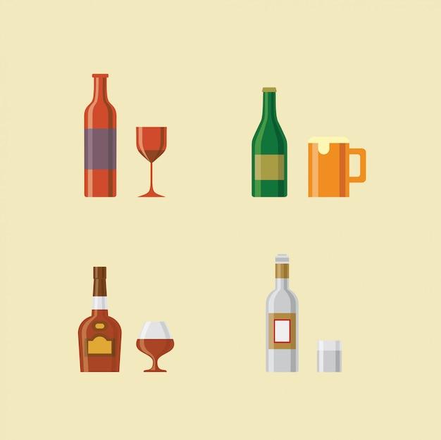 アルコール飲料のイラストアイコンセット:ワイン、ビール、ブランデー、ウォッカ