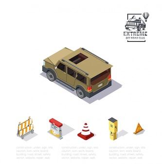 等角投影図、背面図のオフロード車