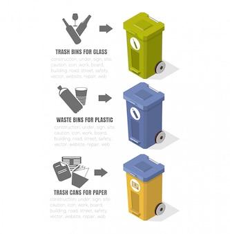 Переработка мусора, мусорные баки, значки экологии, иллюстрации, изометрические чертежи, уборка, пластиковые емкости, низкополигональные изображения