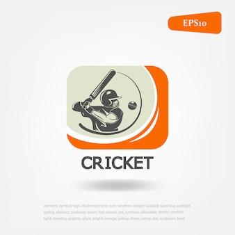 クリケットスポーツ。ロゴクリケットスポーツ。スポーツゲーム