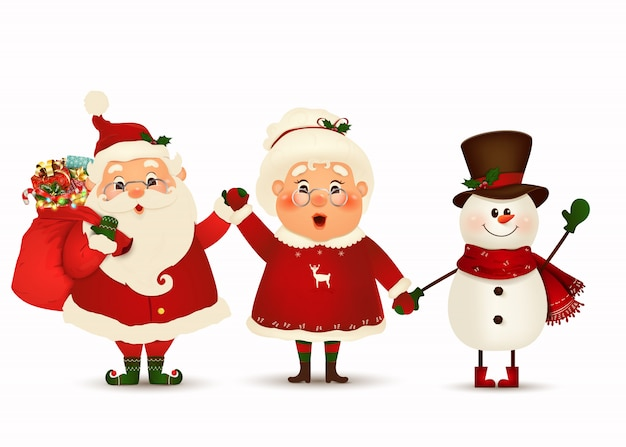 幸せなクリスマスの仲間。サンタクロース、面白い雪だるま、分離された彼の妻の漫画のキャラクター。クリスマスの家族は冬の休日を祝います。クラウス夫人の挨拶とかわいい、面白いサンタクロース