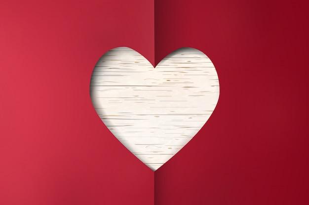 幸せなバレンタインデー。木製の背景に赤い紙のハートバレンタインの日カードをカットします。