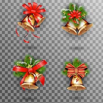 ジングルベル、赤い弓とモミの木の枝とクリスマスゴールドベルのセット