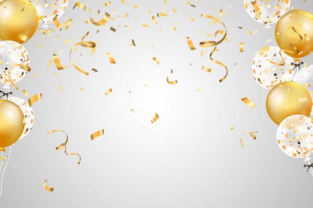 Падающие яркие блестящие золотого конфетти, ленты, звезды празднования, серпантин, воздушный шар изолированы. конфетти летит по полу.