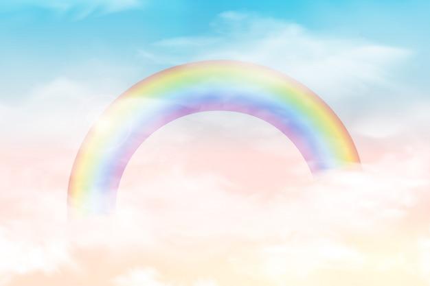 Абстрактное небо с облаками цвета. солнце и облака фон с мягким пастельным цветом. фантазия волшебный пейзаж фон с красочными облачно солнечное небо, реалистичные яркая радуга, пушистые облака. вектор