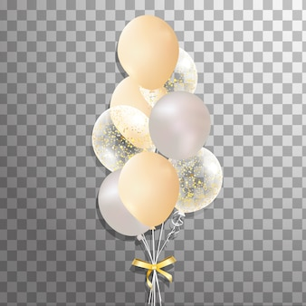Набор золотых, серебряных, белых прозрачных гелиевых шаров, изолированных в воздухе. декорированные матовые шары