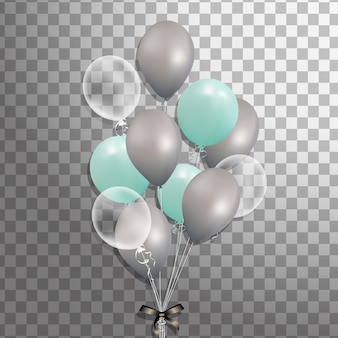 Набор бирюзовый, серебристый, белый прозрачный гелиевый шар, изолированных в воздухе. декорированные матовые шары